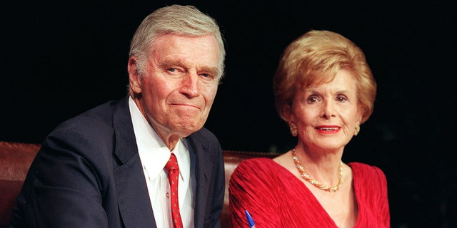 Lydia Clarke Heston, actress and wife of Charlton Heston, left, has died. She was 95.