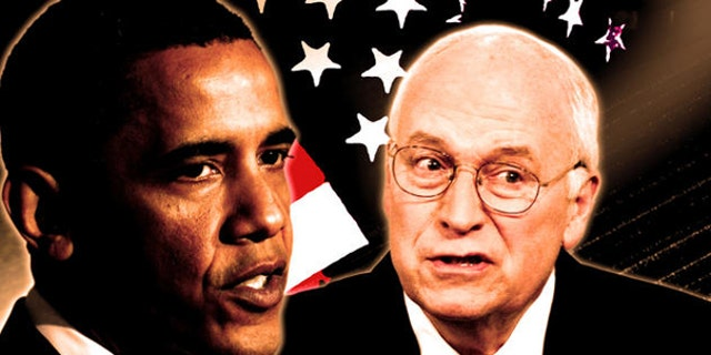 A drawing and partial graphic of President Obama and former Vice President Richard Cheney(AP)