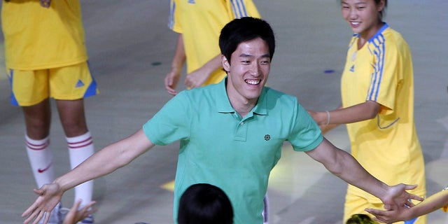June 10, 2012: In this photo, Chinese hurdler Liu Xiang participates in the opening ceremony of the 1st Shanghai Citizen's Games in Shanghai, China.