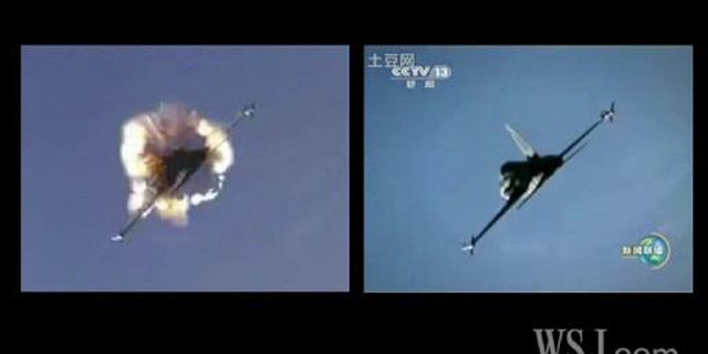"""On the left, a scene from the movie """"Top Gun."""" On the right, footage Chinese TV claimed was of an air force training excercise."""