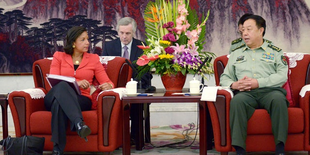 September 9, 2014: U.S. National Security Advisor Susan Rice, left, talks with Fang Changlong, vice chairman of the Central Military Commission at Bayi Building in Beijing. (AP Photo/Wang Zhao, Pool)