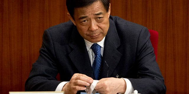 FILE 2002: Chongqing party secretary Bo Xilai at a plenary session of the National People's Congress at the Great Hall of the People in Beijing.