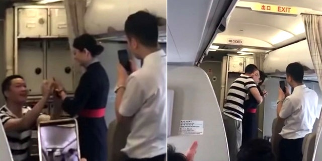 """""""I really didn't know my boyfriend will be proposing to me on this flight, thanks for being my witnesses,"""" the airline staffer supposedly said in the moment."""