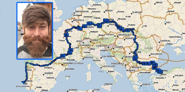 Chris Lemanski made an 18-month, 6,000 mile journey across Europe.