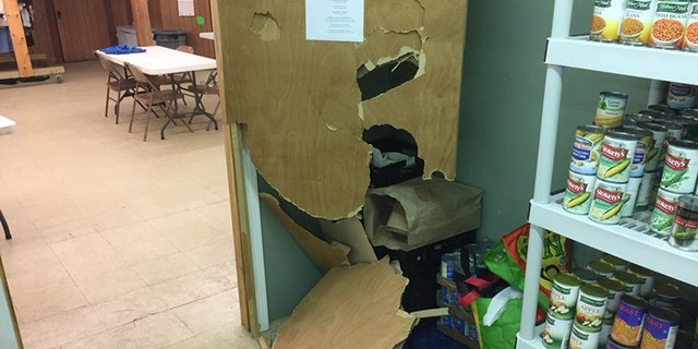 """The Old Orchard Beach United Methodist Church said that some time between Monday night and Tuesday morning, someone had """"forcibly entered the food pantry"""" after entering the property through a door that had been left open."""