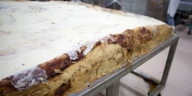 Wolferman's will be selling slices of the behemoth bun for $2 per piece at the annual Pear Blossom Festival in Medford, Oregon.