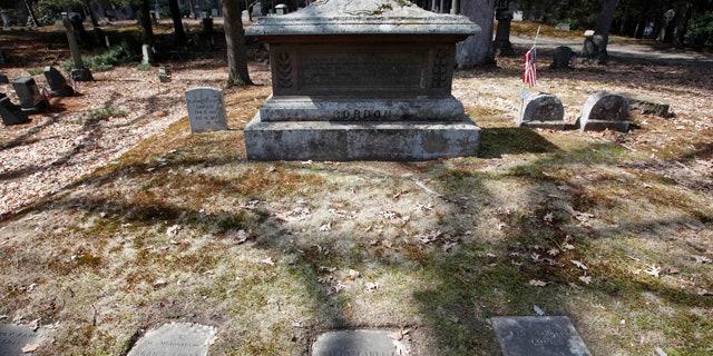 March 25, 2011:  The untended gravesite of Union Civil War Major Gen. George H. Gordon is seen in Framingham, Mass.