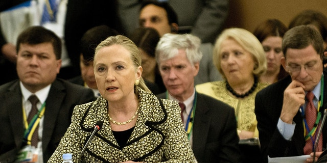 July 8, 2012: US Secretary of State Hillary Clinton speaks during a plenary session of an international conference on Afghan civilian assistance at a hotel in Tokyo.