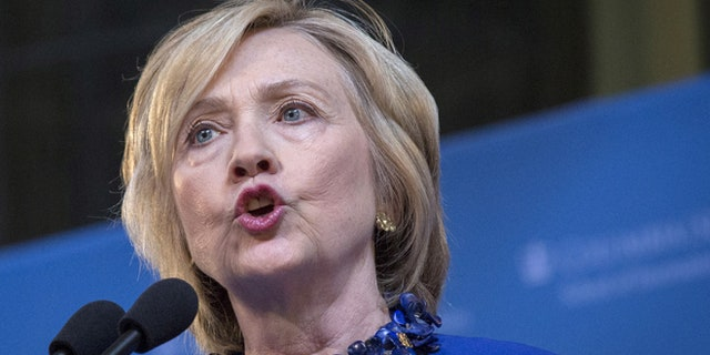 FILE: April 29, 2015: Democratic presidential candidate Hillary Clinton at Columbia University, New York, N.Y.