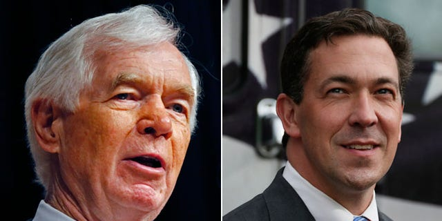 Sen. Thad Cochran, R-Miss., left, announced his resignation earlier this month. State Sen. Chris McDaniel, right, who competed against him in 2014, has shifted resources and will run for Cochran's open seat.