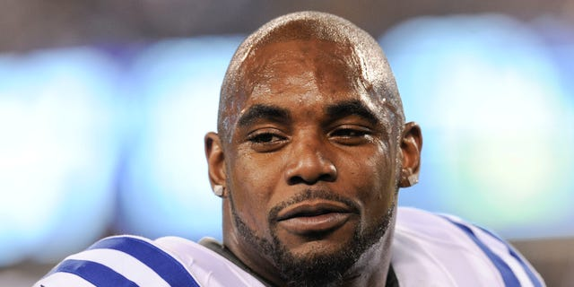 Feb. 17, 2015: This Nov. 3, 2014, file photo shows Indianapolis Colts running back Ahmad Bradshaw (44) before an NFL football game against the New York Giants in East Rutherford, N.J.