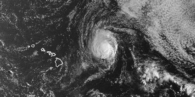 This satellite image from the National Oceanic and Atmospheric Administration shows Hurricane Olivia east of Hawaii at around 6:30 a.m. local time Monday, Sept. 10, 2018. Olivia is expected to approach Hawaii in the coming days as either a high-end tropical storm or a low-end hurricane. Central Pacific Hurricane Center meteorologist Maureen Ballard said Monday there's only a slight difference between the two, so people should prepare as though it will be a hurricane. Olivia is currently 435 miles (700 kilometers) east of Hilo and moving 9 mph (15 kph). It has maximum sustained winds of 75 mph (120 kph). (NOAA via AP)