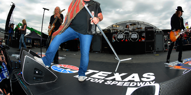In this April 9, 2016, file photo, Johnny Van Zant fronts the band Lynyrd Skynyrd during a convert before the NASCAR Sprint Cup Series auto race at Texas Motor Speedway in Fort Worth, Texas. Southern rock icons Lynyrd Skynyrd will kick off their final tour May 4, 2018, in West Palm Beach, Fla., more than 40 years after the band's debut album was released.