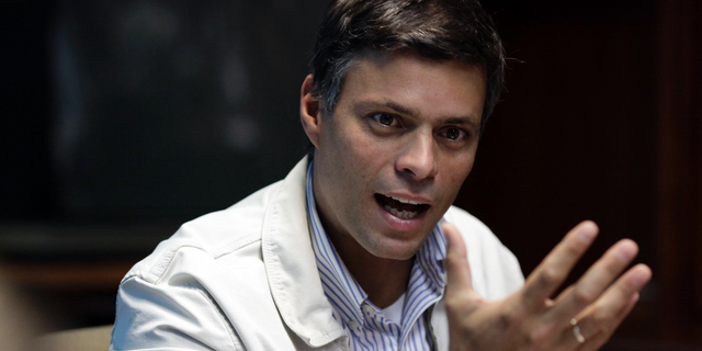 In this Feb. 26, 2013 file photo, Opposition leader Leopoldo Lopez speaks during a press conference in Caracas, Venezuela.
