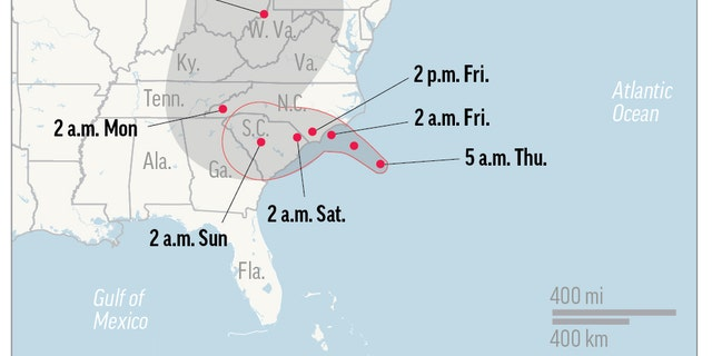 UPDATED THU 5 A.M.  Map shows probable path of Hurricane Florence. ; 1c x 2 1/2 inches; 46.5 mm x 63 mm;