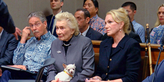 FILE - This March 15, 2018 file image from pool video shows 91-year-old Hawaiian heiress Abigail Kawananakoa, left, and her wife, Veronica Gail Worth, in a Honolulu courtroom. Board members of a foundation a 92-year-old heiress established for Native Hawaiians are calling for a judge to protect her $215 million trust. Many Native Hawaiians consider Abigail Kawananakoa to be the last Hawaiian princess because of her lineage. Her wealth is embroiled in a legal fight and a key court hearing is scheduled for Monday, Sept. 10, 2018. (Hawaii News Now via AP, Pool, File)