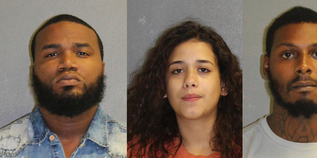 In these photos made available by the Volusia County Dept. of Corrections, Fla., shows Kelsey McFoley, left, Melissa Rios Roque and Benjamin Bascom under arrest, Thursday, Sept. 6, 2018. The three are charged in the death of Carlos Cruz-Echevarria. Echevarria was to give a deposition in a road rage case against McFoley. Bascom is accused as the shooter, Rios Roque assisted in planning the shooting and helped Bascom get away while McFoley hired to killed Eecevarria. (Volusia County Dept. of Corrections via AP)