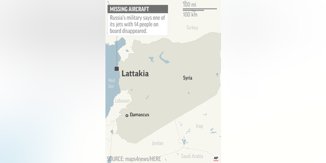 Map locates Lattakia, Syria, where Russian military says one of its jets disappeared; 1c x 2 1/2 inches; 46.5 mm x 63 mm;
