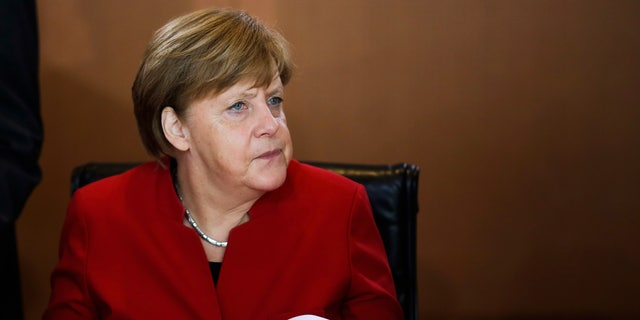 German Chancellor Angela Merkel attends the weekly cabinet meeting of the German government at the chancellery in Berlin, Wednesday, May 3, 2017. (AP Photo/Markus Schreiber)