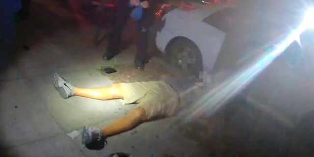 FILE - This June 29, 2018, file video image from a police officer's body cam and provided by Portland State University shows Jason Washington after he was shot and killed by Portland State University police officers in Portland, Ore. Two campus security officers fired 17 times at the legally armed man who was trying to break up a fight and struck him nine times, killing him, according to a report released Wednesday, Sept. 19, 2018. (Portland State University via AP, file)