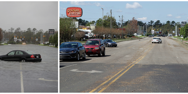 In this combination of photos, water inundates a street on Sept. 15, 2018, left, and on Sept. 19, 2018, after the water receded in the aftermath of Hurricane Florence in Wilmington, N.C. (AP Photo/Chuck Burton)