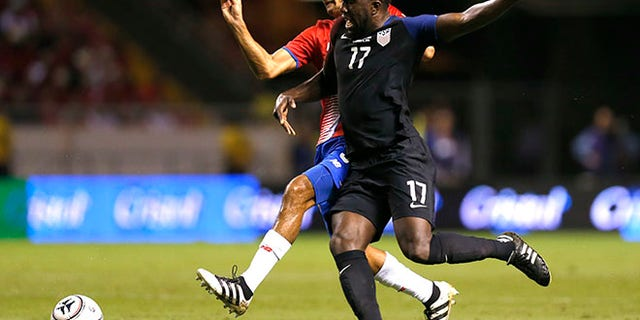 United States' Jozy Altidore and Costa Rica's Celso Borges during qualifying match in San Jose, Costa Rica, Nov. 15, 2016.