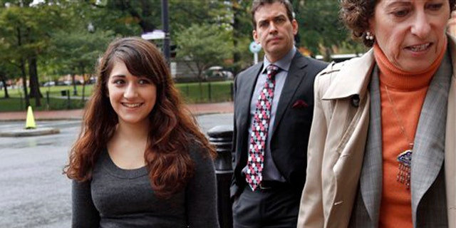 Oct. 13, 2011: Cranston High School West student Jessica Ahlquist, 16, left, arrives at U.S. District Court, in Providence, R.I., with her attorney Lynette Labinger, right.