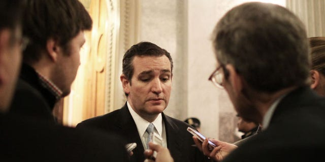 FILE: Dec. 13, 2014: Sen. Ted Cruz, R-Texas, after the Senate voted on a $1.1 trillion spending bill to fund the government through the next fiscal year.