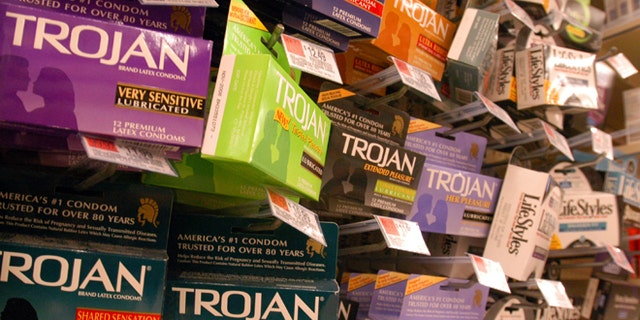 BOSTON, MA - MARCH 12: Pictured are a selection of condoms, in boston, Ma., March 12, 2004. The Bush administration is considering requiring warning labels on condom packages noting that the contraceptive devices do not protect users from all sexually transmitted diseases. (Photo by William B. Plowman/Getty Images)
