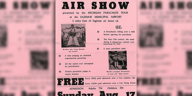 A flier for a Michigan Parachute Team event. The MPC was a group of young men who performed daredevil parachuting stunts.