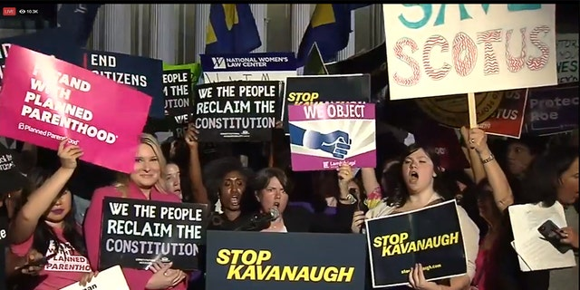 Protesters gathered outside the Supreme Court in Washington before and after Trump's pick was announced.