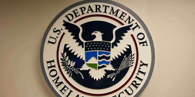 FILE: U.S. Department of Homeland Security emblem is pictured at the National Cybersecurity & Communications Integration Center in Arlington, Va.