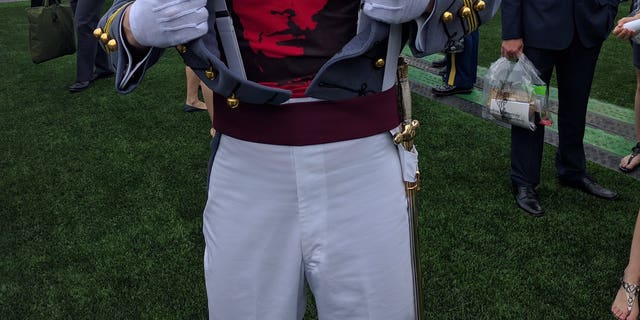 Spenser Rapone is seen in an undated photo wearing a Che Guevara shirt underneath his U.S. Military Academy uniform.