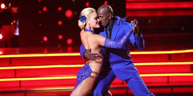 """May 21, 2012: Donald Driver, right, and his partner Peta Murgatroyd perform on the celebrity dance competition series """"Dancing with the Stars,"""" in Los Angeles."""