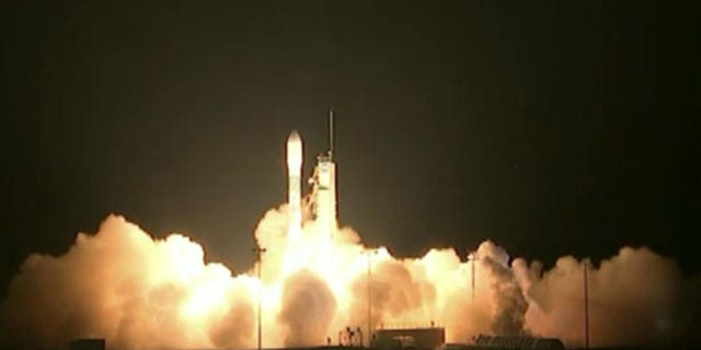 October 28, 2011: This image provided by NASA-TV shows the liftoff of the Delta II rocket with its NPOESS Preparatory Project (NPP) spacecraft payload is seen shortly after launch.