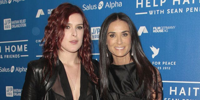 January 14, 2012: Actresses Rumor Willis, left, and Demi Moore arrive at the Cinema for Peace benefit for the J/P Haitian Relief Organization in Beverly Hills, Calif.