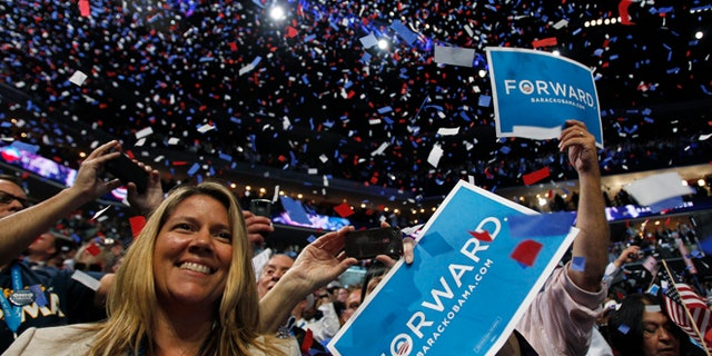 FILE: Sept. 6, 2012: Delegates celebrate at the Democratic National Convention in Charlotte, N.C.