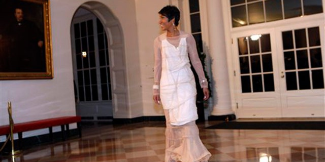White House Social Secretary Desiree Rogers arrives for a State Dinner hosted by President Obama at the White House, Tuesday, Nov. 24, 2009. (AP)
