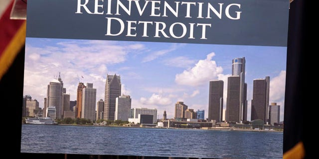 Image of the Detroit skyline on the podium where Detroit Emergency Manager Kevyn Orr and Michigan Governor Rick Snyder will address the media in Detroit, Michigan July 19, 2013.