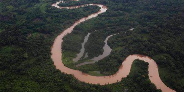 In this 2012 aerial file photo, a view of the Mosquitia region near the remote community of Ahuas, Honduras.