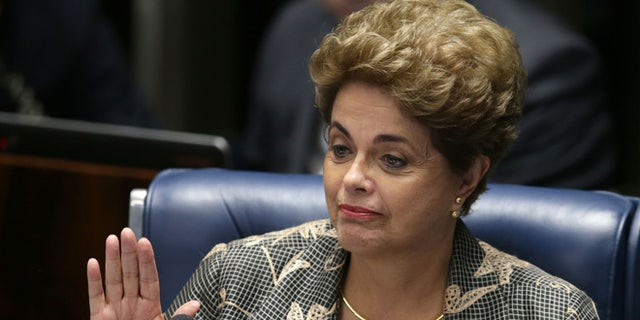 Suspended Brazilian President Dilma Rousseff after her impeachment trial in Brasilia, Brazil, Monday, Aug. 29, 2016.