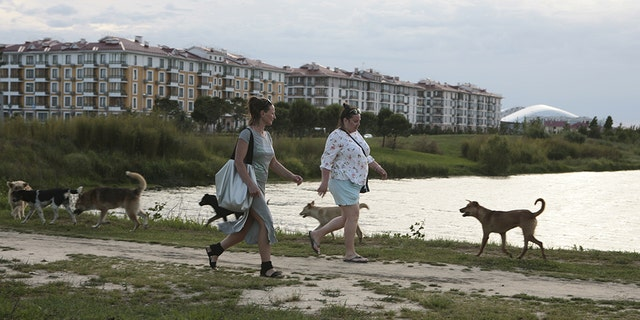 Women walk past stray dogs, with the Fisht Stadium seen in the background, in Sochi, the host city for the 2018 FIFA World Cup, Russia May 18, 2018.