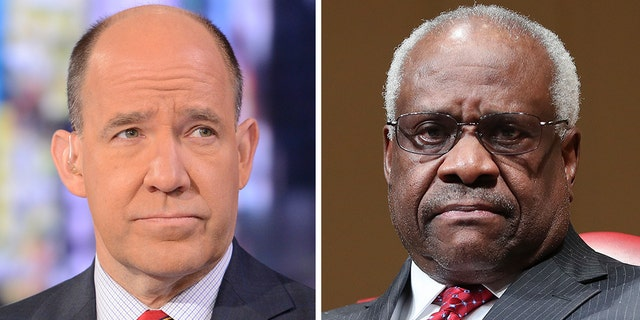 "Supreme Court Justice Clarence Thomas, right, was called a ""sexual predator"" by ABC News chief political analyst Matthew Dowd."