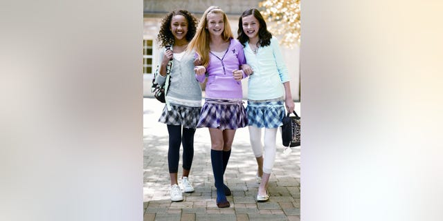FILE - This undated photo provided by Tween Brands in 2008 shows models wearing tights and leggings. (AP Photo/Tween Brands)