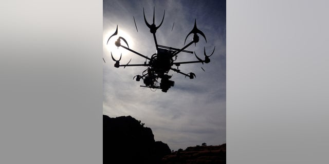 File photo - This image provided by Aerial MOB, LLC, shows their eight rotor Sky Jib Helicopter in San Diego, Calif., in August 2013.