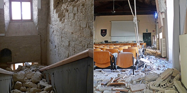 Earthquake damage at the Ducal Palace, site of the rectorate, and in a classroom