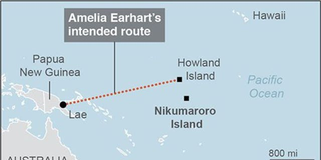 Map locates Howland Island and Nikumaroro Island and Amelia Earhart's intended route; 2c x 3 inches; 96.3 mm x 76 mm; with BC-US--Finding Earhart; ETA 4 p.m.; 2c x 2 inches; 96.3 mm x 50 mm;