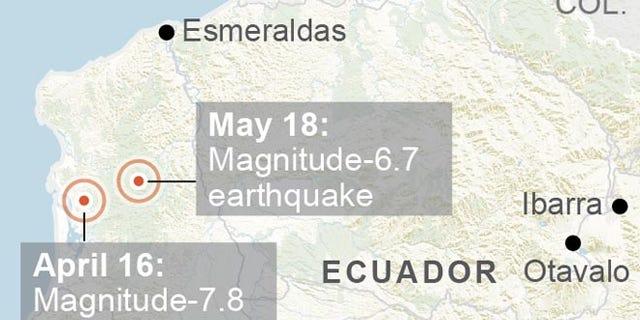 Map locates magnitude-6.7 and magnitude-7.8 quakes in Ecuador; 2c x 3 inches; 96.3 mm x 76 mm;