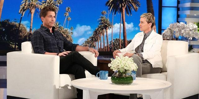 Ellen DeGeneres speaking with actor Rob Lowe on her talk show 'The Ellen DeGeneres Show.'