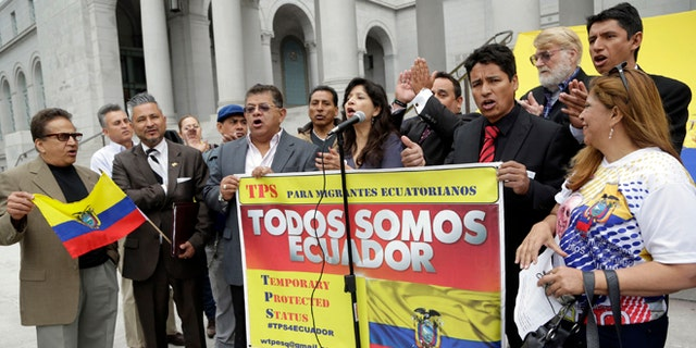 Ecuadorean immigrants demonstrate to ask the Barack Obama administration to allow their fellow citizens living in the United States illegally to stay here and work while the South American country recovers from a magnitude-7.8 earthquake, at a rally on the steps of Los Angeles City Hall Wednesday, May 4, 2016. More than 300,000 people from countries including Haiti, Nicaragua and Somalia have temporary protected status, according to U.S. government estimates. (AP Photo/Nick Ut)